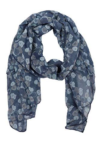 Zwillingsherz Seiden-Tuch im auffälligem Design - Hochwertiger Schal für Damen Mädchen - Halstuch - Umschlagstuch – Pashmina - Loop - weicher Schlauchschal für Frühjahr Sommer Herbst Winter - navy