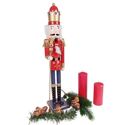 BURI Holz-Nussknacker 61cm Weihnachtsdeko Weihnachten Deko Nuss Knacker König Husar, Farbe:König. rot