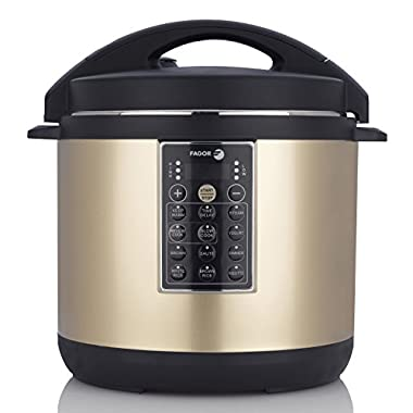 Fagor LUX Multi-Cooker, 8 quart, Electric Pressure Cooker, Slow Cooker, Rice Cooker, Yogurt Maker and more, Champagne - 935010055