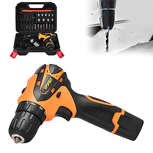 YANSQH Destornillador Eléctrico 12V Taladro de Impacto Eléctrico, Taladro Percutor Bateria con 2×1.5Ah Baterías, para el Hogar Carpintería de la UE 110-220V