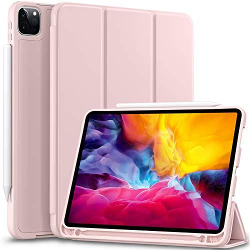 Vobafe Hülle Kompatibel mit iPad Pro 11 2020 & 2018, TPU Schutzhülle mit Stifthalter für iPad Pro 11 Zoll [Unterstützen Sie Pencil der 2. Generation] [Auto Wake/Sleep] [Voller Schutz], Rosa