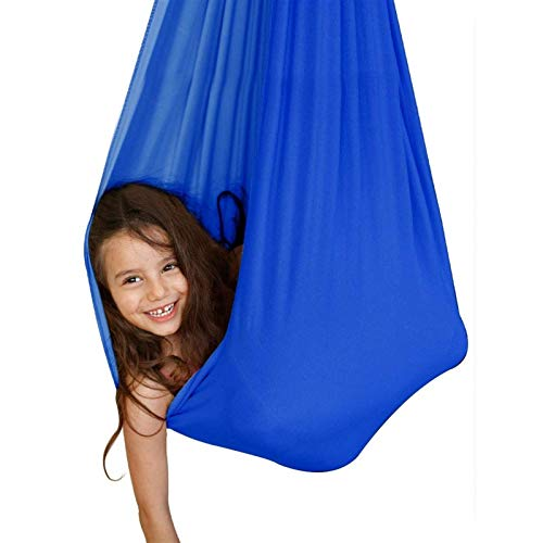 LICHUXIN Blue Sensory - Silla de columpio, ajustable, para yoga, hamaca sensorial, para niños o adultos, cuerda de árbol, terapia de autismo (color: azul, tamaño: 100 x 280 cm)