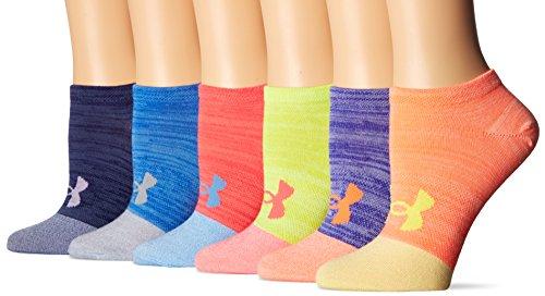 Under Armour Women's Essential Twist No Show Socks (6 Pack), Lemon Yellow, Medium