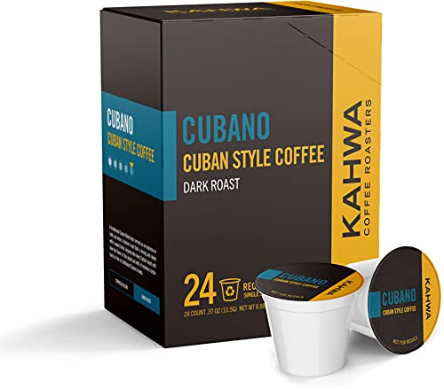 Kahwa Coffee Cubano, Cuban Coffee K Cups, Dark Roast Blend, Single-Serve Coffee Pods for Keurig Brewers, 24 pods