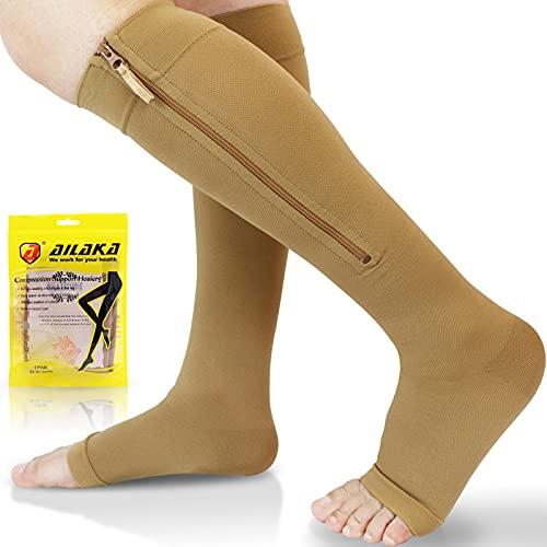 Ailaka Calcetines de compresión con cremallera de 20 a 30 mmHg para mujeres y hombres, puntera abierta hasta la rodilla, Beige, 2X-Large (1 Pair)