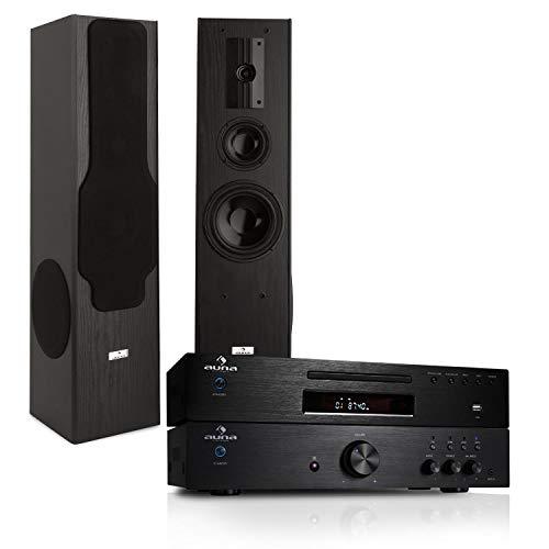 auna HiFi Stereoanlage Elegance Vollverstärker + CD-Player + Stand-Lautsprecher (Verstärker 125 Watt RMS, CD-Player MP3-fähig, 3-Wege-Boxen 180 Watt) schwarz