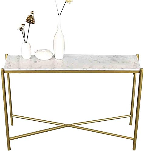 Narrow Table Porch Table, Ultra-Thin Entrance Table, Sofa Side Table, Golden Metal Frame, Marble Corridor, Living Room Porch Entrance Table,White Marble,47×13.8×29.5in