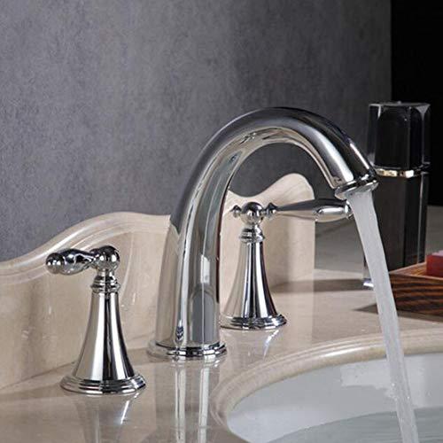 BFDMY Grifo Baño Europeo Dividido Cobre de Tres Piezas Grifo de la bañera Caliente y fría Mezcla de Grifería Mezclador Lavabo Cromo,SilverSplitFaucet