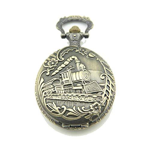 Patrón Reloj De Bolsillo De Tren Reloj De Bolsillo Collar Retro Bolsillos Regalo Reloj Pendiente para Los Padres Cumpleaños Aniversario Día Día (sin Cadena)