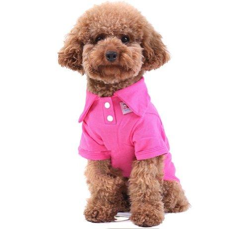 confortable Coton Polo pour chien Pet Chiot Vêtements Vêtements pour animaux Apparel (Fushcia, SM)