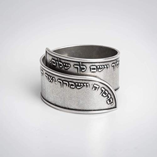 Prayer ring, Unique ring engraved with the Priestly blessing verses, Unisex 925 sterling silver plated open adjustable ring, Handmade Israeli religious Hebrew Jewelry gift for men and women