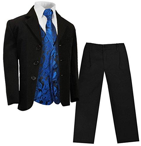 Paul Malone - Jungenanzug Kinderanzug festlich (Slim Fit) schwarz + blaues Paisley Hochzeit Westen Set 128-134 (8 Jahre)