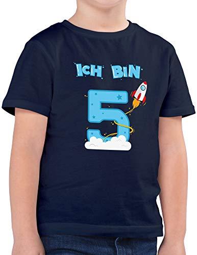 Shirtracer Ich bin Schon 5 Geburtstag Rakete Jungen T-Shirt (Navy, 7-8 Jahre 122-128 cm)