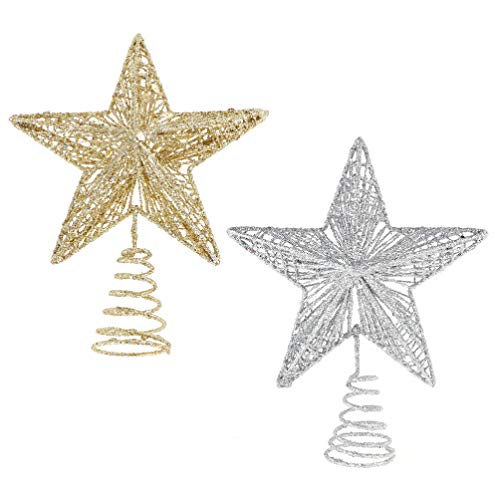 TOYANDONA 2pcs Christmas Star Tree Topper Glitter Sparkle Metal Star Treetop Ornament for Christmas Decoration (Golden and Silver)