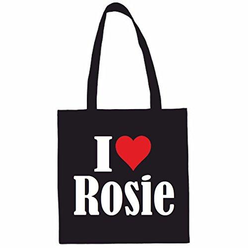 Tasche I Love Rosie Größe 38x42 Farbe Schwarz Druck Weiss