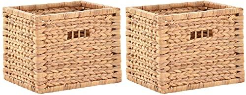 korb.outlet Stabiles Set / 2 Regalkorb mit Holzrahmen Schubfach/Schübe Box zur Aufbewahrung Regalkorb Schrankkorb Griff (Wasserhyazinthe, Set 42x32x32)