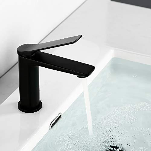 Wastafelarmatuur voor badkamer | LONHEO wastafelarmatuur badkamer voor wastafels | koud water & warm water verkrijgbaar | modern design zwart
