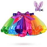 Rainbow Tutu Skirt Multicolor Bow Ballet Dance Dress Colorful Tulle for Girls