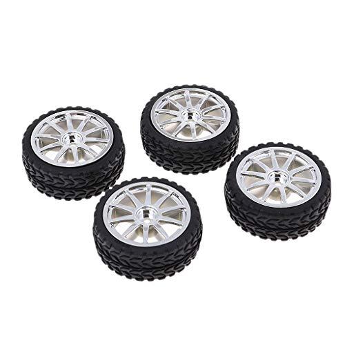 4 Piezas de Neumáticos de Goma Negra Llanta Hexagonal de 65 Mm para Juguetes Modelo RC DIY