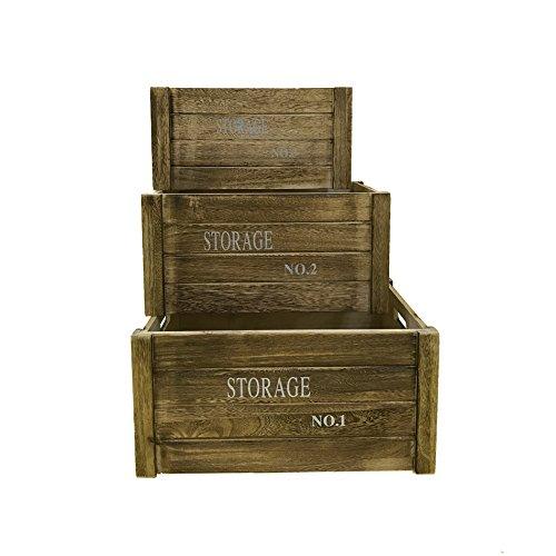 Rebecca Mobili Set 3 pz scatole di Legno Vintage, Scatola Frutta per decoupage Sala Cucina, Marrone - Misure 20 x 41 x 31 cm (HxLxP) - Art. RE4475