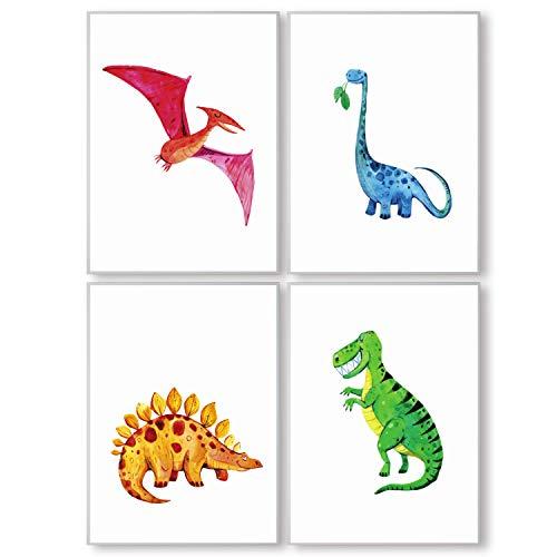 Pandawal Wandbilder Kinderzimmer/Babyzimmer Bilder für Junge und Mädchen Dinosaurier 4er Dino Poster Set T-rex Tiere Deko (P14) im DIN A3 Format