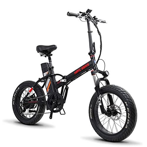 WZW 20 Pulgadas Plegable Mini Bicicleta Electrica 500W 48V13Ah 4.25 Gordo Neumático montaña Bicicleta eléctrica Equipo 7 Velocidad Engranajes Eléctrico Bicicleta por Adultos Hombres Mujeres