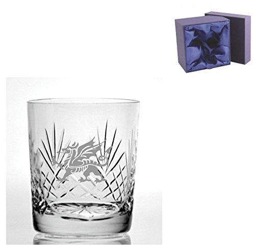 Cut Kristall, Whisky Glas mit walisischer Drachen Design–Geschenkbox mit Seide ausgekleidet enthalten