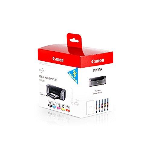 Original Canon 6402B009 / PGI-72, für Pixma Pro 10 5X Premium Drucker-Patrone, Schwarz, Cyan, Magenta, Gelb, Rot, 5 x 14 ml