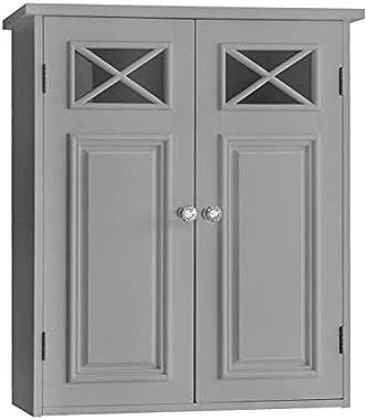Versanora Armoire Murale Dawson pour Salle de Bain Elegant Home Fashions à Deux Portes Grise EHF-6810G, 17,8 x 50,8 x 61