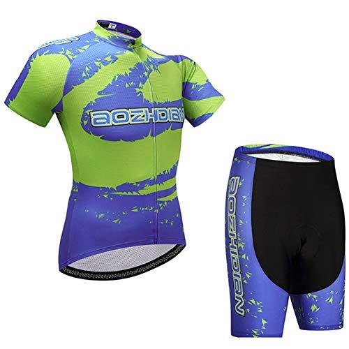 AJO Racing Club Hombres Jersey de Ciclo Corto Manga Verde y Azul, Verano al Aire Libre del Camino MTB Transpirable Anti-UV Bicicletas Clother Set, Gel Acolchado Babero Ciclo Combinado Camisa