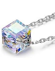 NINASUNスワロフスキーの水晶製 虹/金/青三色選択(10金張り)S925純銀のネックレス 大切な彼女へ愛のプレゼント(宝石箱付き)