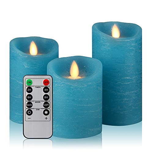 Aku Tonpa Flameless Candles Battery Operated Pillar Real Wax Electric LED Candle Gift Sets with Remote Control Cycling 24 Hours Timer (Blue)