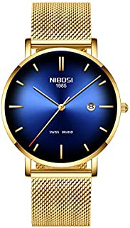 NIBOSI - Reloj de pulsera para hombre, ultrafino, resistente al agua, correa de acero inoxidable