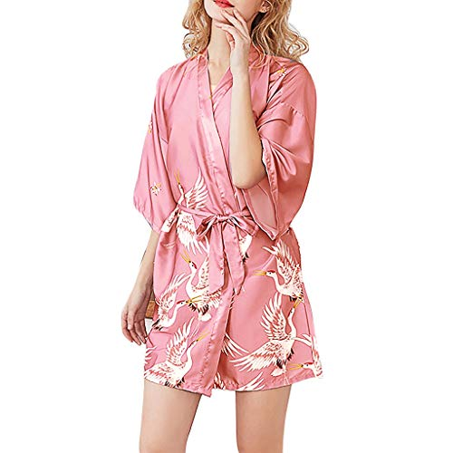 Luckhome Frauen Simulation Silk Damen Pyjamas Dessous Robe Bademantel Braut Morgenmantel,Bademantel Aus Seiden-Damen-Pyjamas Der (PK,XL)