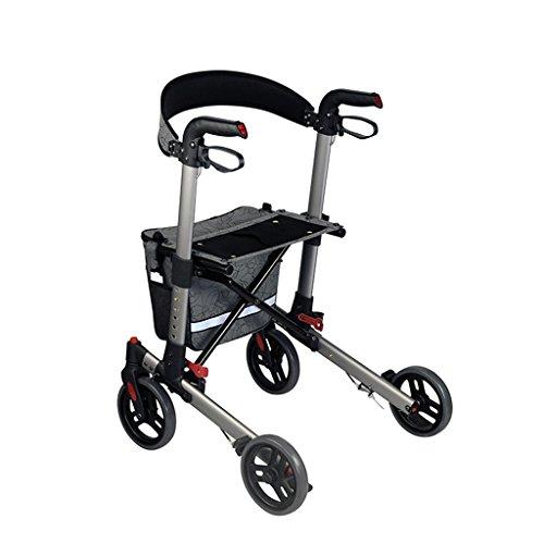 Rollator de aleación de aluminio, ligero plegable Rollator 4 ruedas Walker Aid con asiento acolchado, frenos bloqueables y bolsa de almacenamiento, altura ajustable, gris, carga máxima 136kg ⭐
