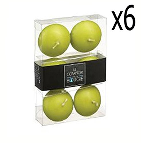 PEGANE Lot de 6 boites de 6 Bougies flottantes en Vert, D.4,5 x H. 2,5 cm