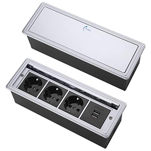 Versteckte Tisch-Einbausteckdose,Einbausteckdose mit deckel,Tischsteckdose Einbausteckdose 3 fach,mit 2 USB Charger,Press Open Deckel Tischsteckdose (Silber schwarz)