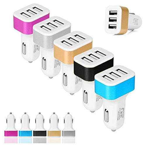 Whatyiu 3USB Car Charger Adapter,Fast Car Charger Mini Lighter USB Charger Compatible with Cellphones