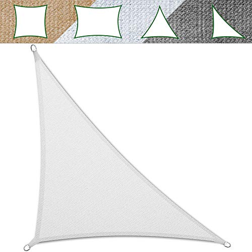 casa pura Voile d'ombrage Triangulaire Balcon, pergola, Jardin   polyéthylène, résistant   Triangle, Anti UV - 3,6x3,6x5,1m, Blanc