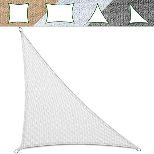 casa pura Sonnensegel für Garten, Terrasse & Balkon | wetterbeständig, UV-stabilisiert & atmungsaktiv | Sonnenschutz | Farbe Weiß, dreieckig 3,6x3,6x5,1m