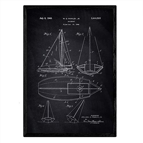 Nacnic Poster con patente de Barco velero. Lámina con diseño de patente antigua en tamaño A3 y con fondo negro