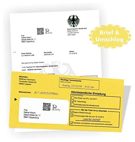 10 Geburtstagseinladungen Zustellung Einladungen für Erwachsene Geburtstag Brief und Umschlag Witzig Lustig Originell Einladungskarten