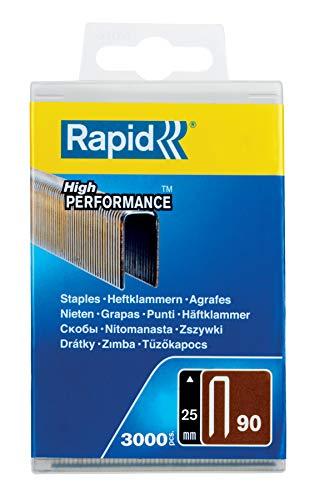 Rapid, 5000124, Agrafes N°90, Longueur 25mm, 3000 pièces, Fil galvanisé enduit de résine, Haute performance, Gris