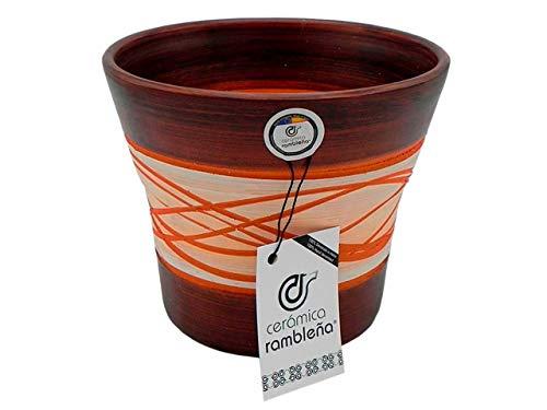 CERÁMICA RAMBLEÑA | Macetas de Barro Rojo | Macetas Decorativas | Macetas de cerámica | Macetas Exterior | Hilo-Nogal | Decoración 100% Hecho a Mano | 20x20x17 cm