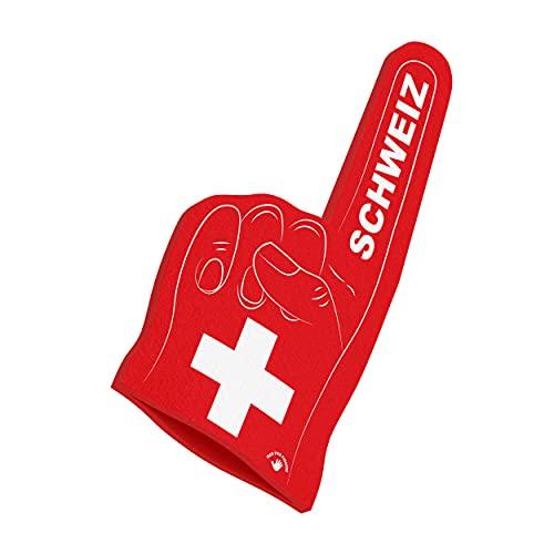 HIGH FIVE FINGERS Schweiz Euro 2021 Europameisterschaft Fahnen | Schaumstoff Hand für Party, Stadion und Events | One Size | 44 x 22 x 2,5 cm | Schweiz