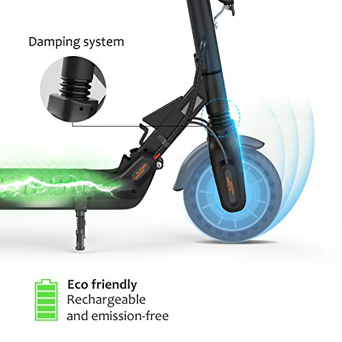 Mega Motion E-Scooter Klappbar Elektroroller Scooter Geschwindigkeit Erwachsene bis 30 Km/h 8.5 Zoll aufblasbares LCD-Display Tragbar Vorderen und Hinteren Rückleuchten(Black) - 3