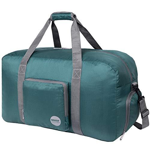 Faltbare Reisetasche 60-100L Superleichte Reisetasche für Gepäck Sport Fitness Wasserdichtes Nylon von WANDF (Dunkelgrün, 60L)