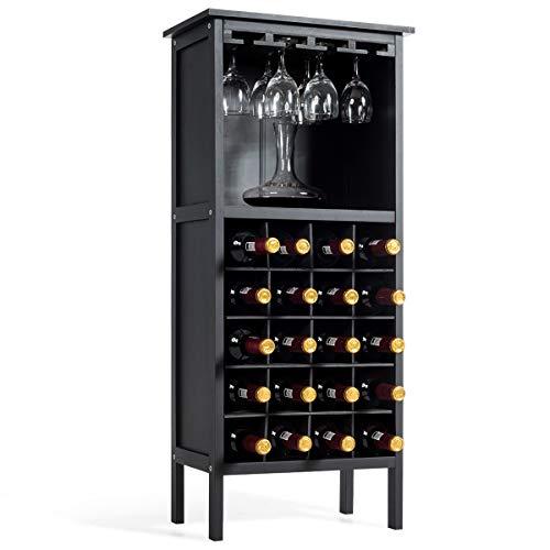 COSTWAY Weinschrank für 20 Flaschen, Weinregal Holz, Flaschenregal mit Glasaufhänger, Weinständer, Gläserregal für Küche, Bar, Flaschenständer 42x24,5x96cm(Schwarz)