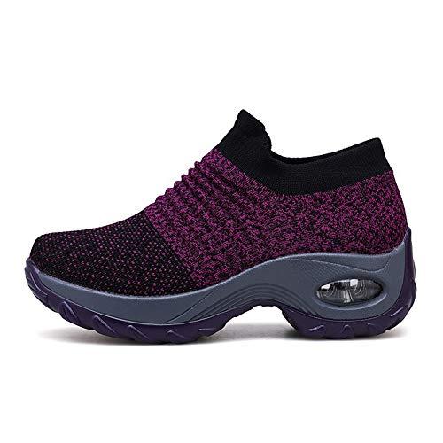 Zapatillas Deportivas de Mujer Gimnasio Zapatos Running Deportivos Fitness Correr Casual Ligero Comodos Respirable Negro Gris Morado 35-42 PP38