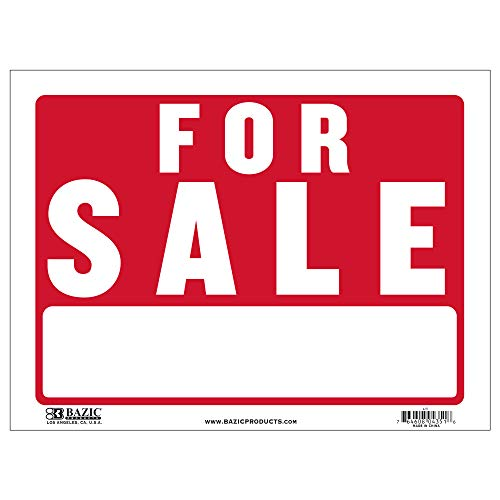 """BAZIC 12"""" X 16"""" for Sale Sign, Yard Sale Garage Sale Retail Store Policy Business Plastic Signs, Wall Door Border, Waterproof Indoor Outdoor Advertising Signage"""